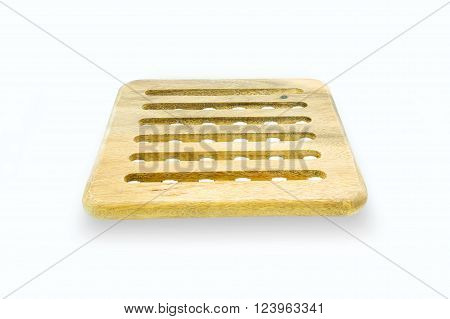 Round Wooden Trivet Isolated On White Background