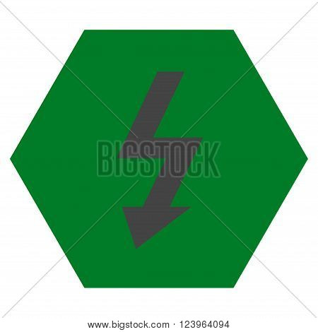 High Voltage vector icon. Image style is bicolor flat high voltage icon symbol drawn on a hexagon with green and gray colors.