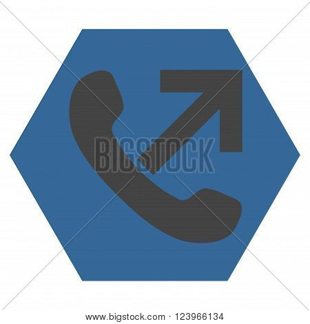 Outgoing Call vector icon symbol. Image style is bicolor flat outgoing call icon symbol drawn on a hexagon with cobalt and gray colors.