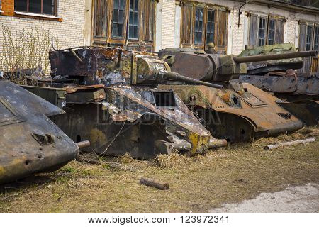 Destroyed soviet old tanks of ww2 time period poster