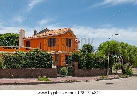 Montevideo, Uruguay - December 15, 2012:  Colorful house in Montevideo, Uruguay.
