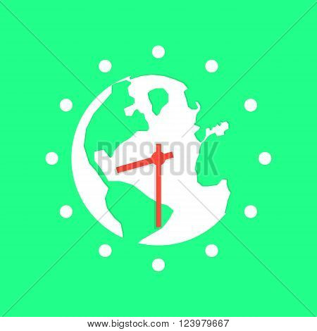 green earth hour with white planet. concept of global warming, saving electricity, illumination, wwf power conservation, people peace, protect. flat style trendy modern design vector illustration