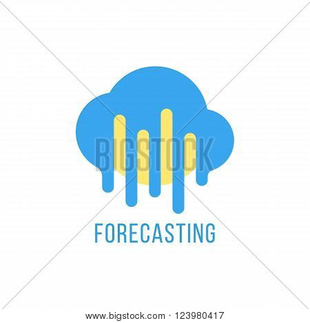 forecasting with sun and melted cloud. concept of daily forecast, company brand, tv program, weather today. isolated on white background. flat style trendy modern branding design vector illustration