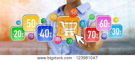 Young Woman Shopping During Sales Period