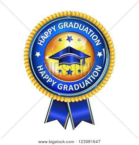 Happy Graduation elegant award ribbon with cap.