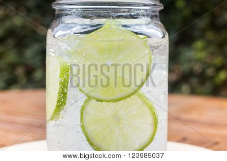 Close-up glass of iced lime soda drink stock photo