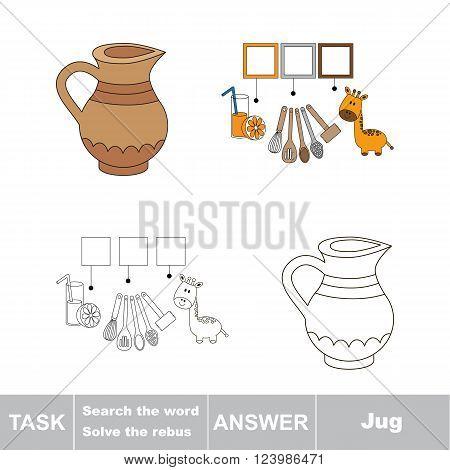 Vector rebus game for children. Find solution and write the hidden word Jug