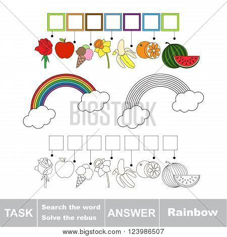Vector rebus game for children. Find solution and write the hidden word Rainbow