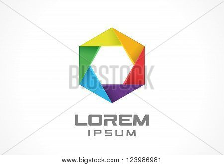 Colorful icon design element. Abstract logo idea for business company.  Internet, communication, technology and network concepts.  Pictogram for corporate identity template. Stock Illustration. Vector