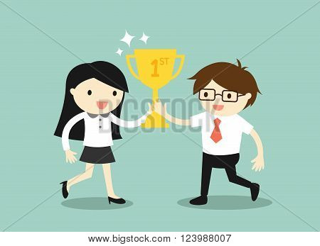 Business concept, businessman and business woman holding trophy. Vector illustration.