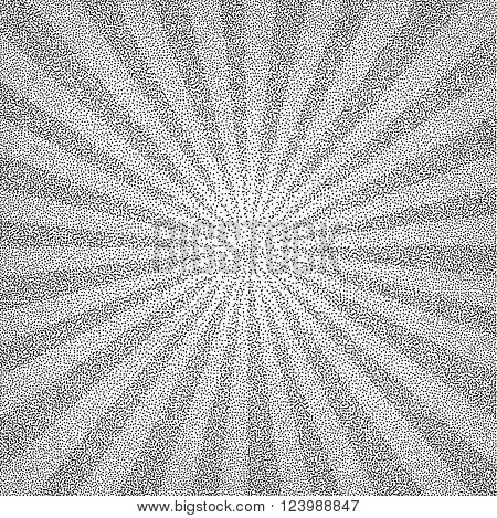 Sun Sunburst Pattern made of stipples. Vector illustration