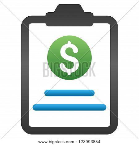 Prices Sheet Pad vector toolbar icon for software design. Style is a gradient icon symbol on a white background.