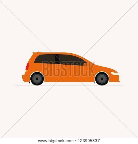 Bright orange car flat icon isolated on light background