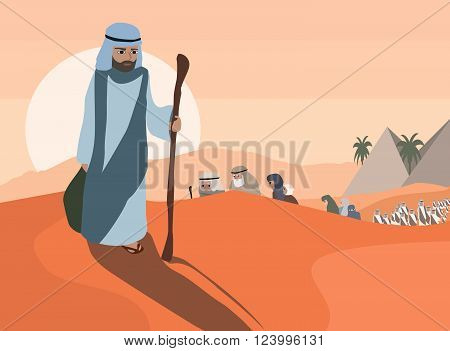 Exodus  of Jews from Egypt - vector cartoon  illustration
