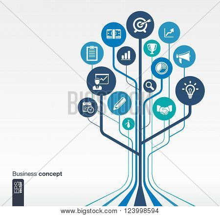 Abstract background with lines, circles and flat icons. Growth tree concept for business, communication, marketing research, strategy, mission, analytics and web design. Vector illustration.