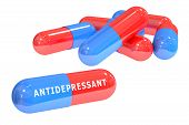 antidepressant pills 3D rendering isolated on white background poster