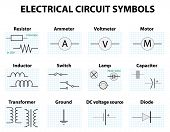 Electronic symbol. Electric circuit symbol element set. Pictogram used to represent electrical and electronic devices. poster