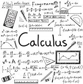 Calculus law theory and mathematical formula equation doodle handwriting icon in white isolated paper background with handdrawn model for education presentation or subject title create by vector poster