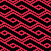 Colorful geometric seamless pattern symmetric endless vector background with intertwine lines. Abstract concept red splicing covering. poster