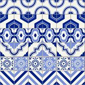 Stylish mega seamless pattern patchwork mix of six Moroccan tiles in trendy shades of blue. poster