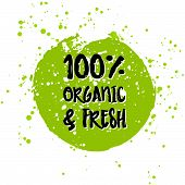 Go green Eco icon and bio sign on watercolor stain. Vector banner 100% natural organic food concept. Farm Fresh logo and Certified Organic Product emblem. Natural Vegetarian food and Vegan food label poster