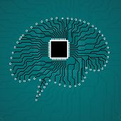 Brain. Cpu. Circuit board. Abstract technology background poster