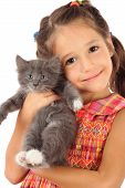 Little girl with gray kitty isolated on white poster