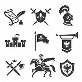 Knight medieval history vector icons set. Middle ages warrior weapons. Sword, shield and castle poster