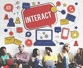 Interact Communicate Connect Social Media Social Networking Concept poster