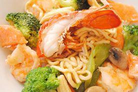 Chinese Vegetables with Lobster & Shrimp Over Noodles