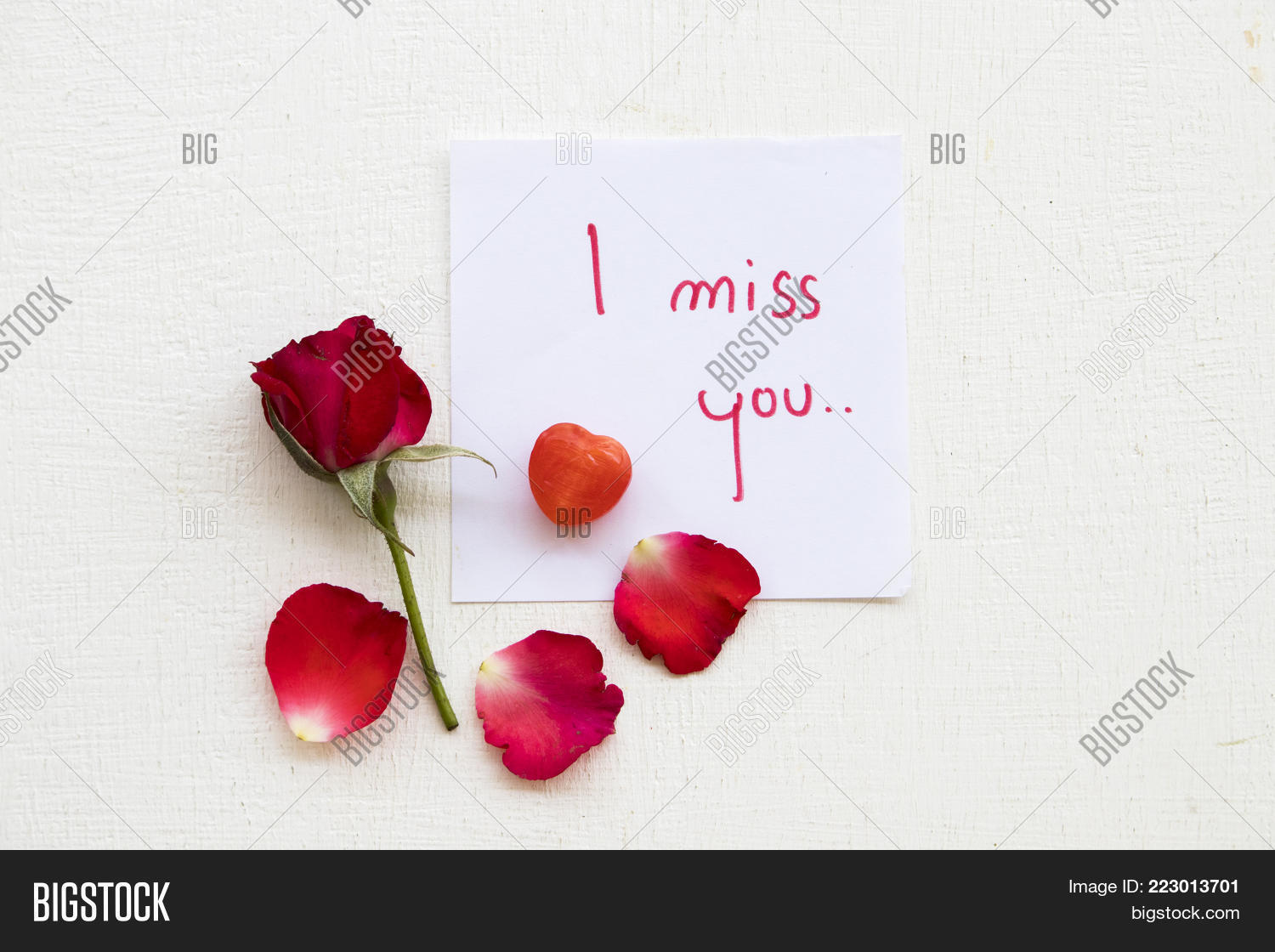 Miss You Message Card Image Photo Free Trial Bigstock