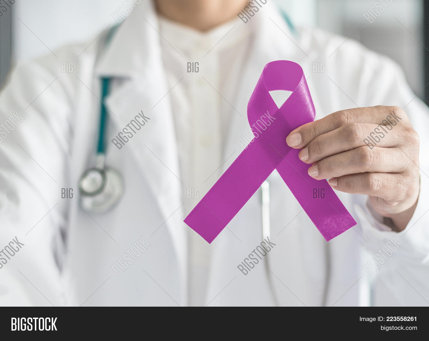 Lavender Purple Cancer All Kinds Awareness Ribbon On Doctor S Hand Support For National