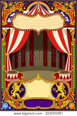 Circus poster or card theme. Vintage frame with circus tent for kids birthday party invitation or post. Quality template vector illustration.