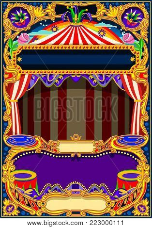 Circus  theme. Vintage frame with circus tent for kids birthday party invitation or post. Quality template vector illustration.