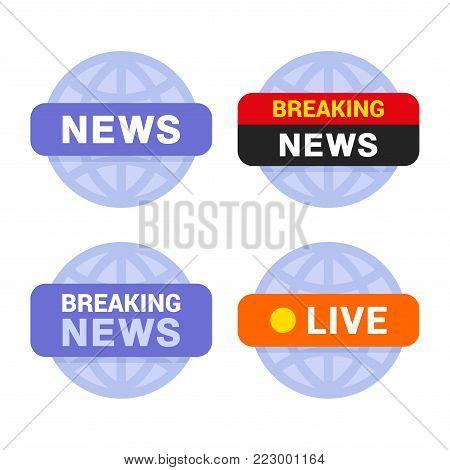 News Media Icons Set on White Background. Vector illustration