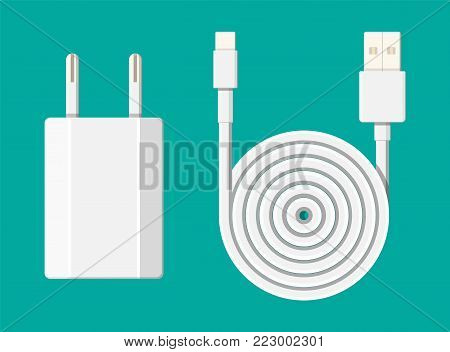 Charger adapter and cable. The device for charging electronic equipment. Vector illustration in flat style
