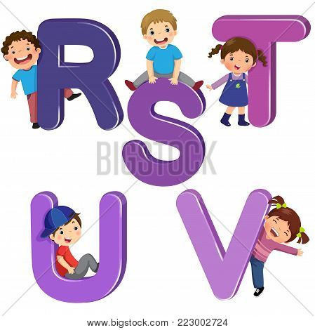 Vector illustration of cartoon kids with RSTUV letters