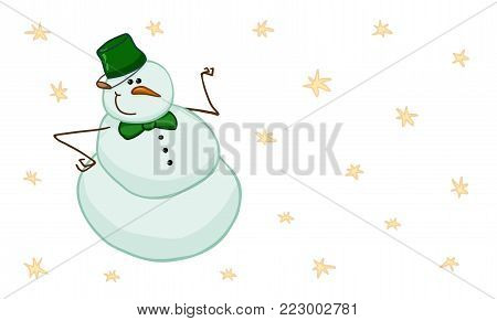 Cute intelligent snowman with green bucket on his head and green bow tie. Vector illustration in childish style