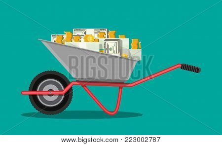 Wheelbarrow full of strapped cash dollar banknote bundles and golden coins. Symbol of wealth. Business success. Flat style vector illustration.