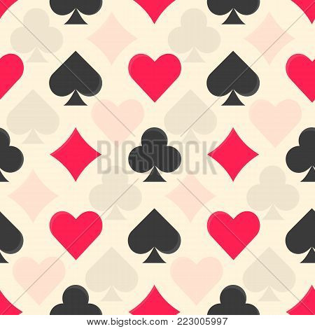 Flat vector black and red colorful playing cards suits seamless pattern. Diamonds, clubs, hearts and spades texture for leasure activity games design, textile, wrapping paper, background