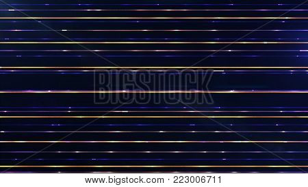 Futuristic glowing multicolor digital bokeh dots particles impulse rare parallel horizontal lines with flash, HUD element, technology concept creative design abstract background. 3d rendering
