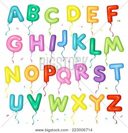 Balloon colorful font for kids. Letters from A to Z for birthday party, baby shower