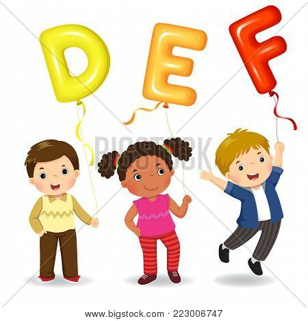 Vector illustration of cartoon kids holding letter DEF shaped balloons