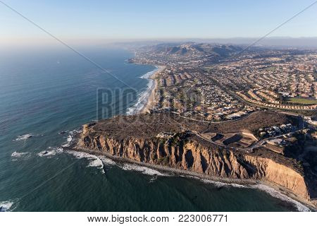 Aerial view of Dana Point in Orange County on the Southern California pacific ocean coast.
