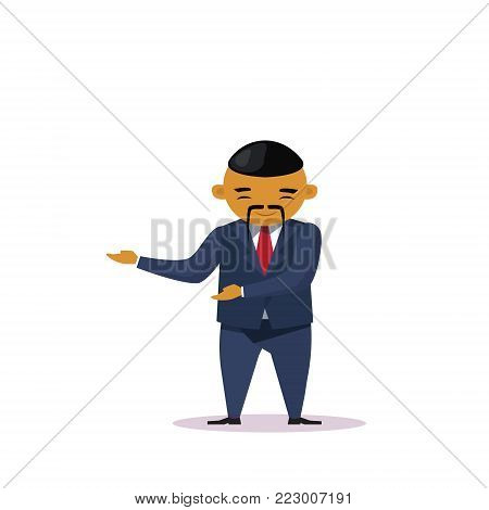 Cartoon Asian Business Man Holding Hand Gesture Presenting Or Showing Isolated Over White Background Flat Vector Illustration