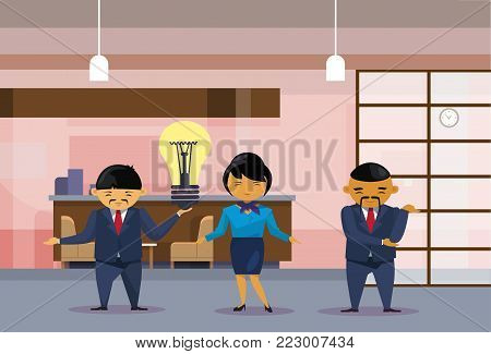 Asian Business People Team Holding Light Bulb New Idea Concept Creative Chinese Office Workers Group Flat Vector Illustration