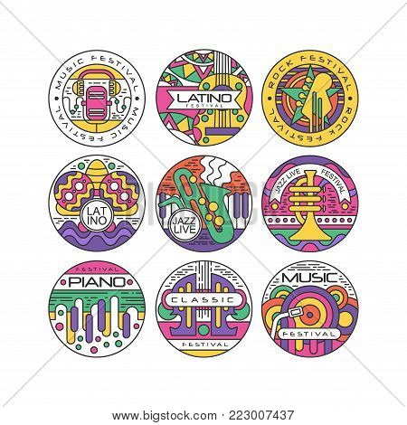 Music festival logo set, Latino, Jazz, Piano, Rock, Classic round labels or stickers vector Illustrations on a white background
