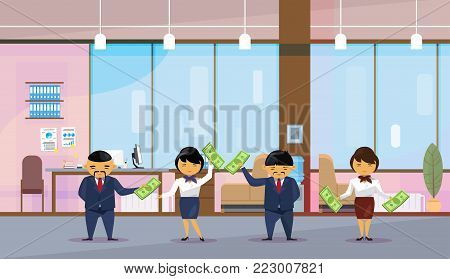Asian Business People Group Holding Dollar Banknotes Salary Or Financial Success Profit Concept Flat Vector Illustration