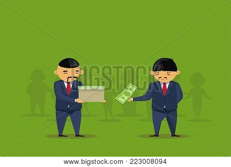 Two Asian Business Men Put Dollar In Box Donation Charity, Taxes Or Savings Concept Flat Vector Illustration