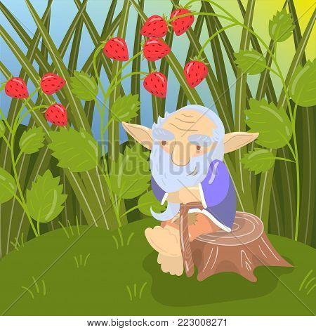 Cute cartoon old bearded troll sitting on a stump, green summer landscape vector illustration in cartoon style